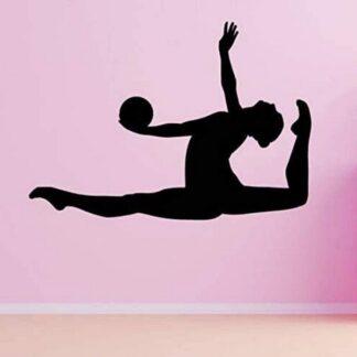 Pegatinas de pared calcomanías artísticas murales de vinilo gimnasia artística puerto de salto de bola para niños niñas dormitorio sala de estar familiar gimnasio 80X56cm